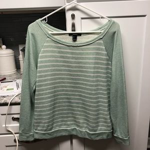 Light Green and White Striped Sweater